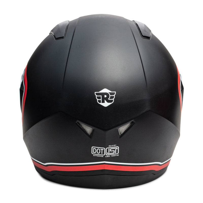 STREET BORDER STRIPE HELMET - MATT BLACK RED