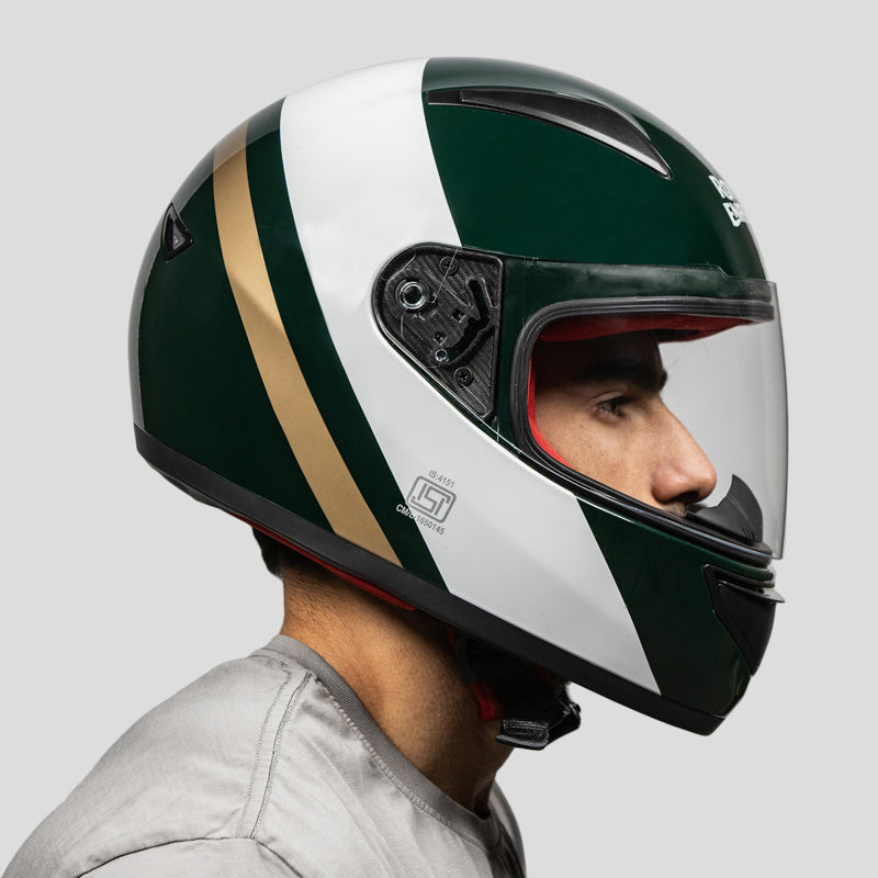 STREET PRIME HELMET TRUE STRIPES - GREEN & WHITE