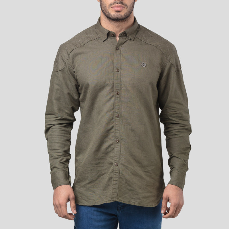 LINEN COTTON SHIRT - OLIVE