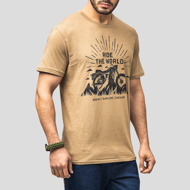 RIDE THE WORLD T-SHIRT - KHAKI