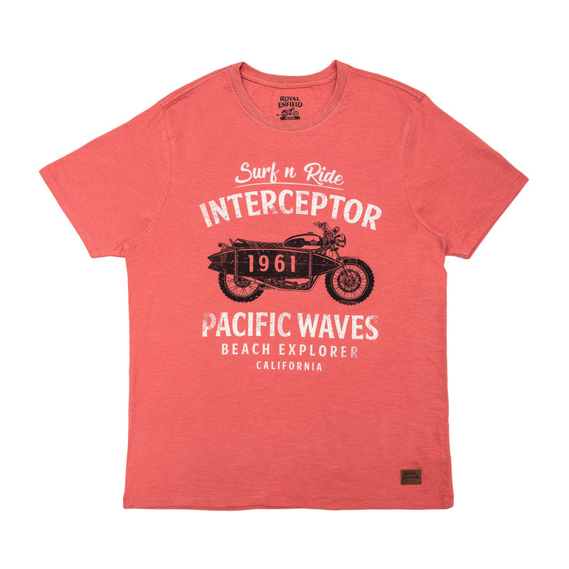 PACIFIC WAVES T-SHIRT - PEACH RED
