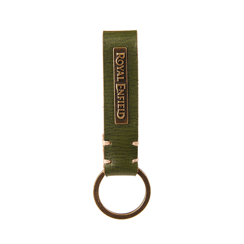 Belt Loop Leather Keychain Olive Green - Royal Enfield