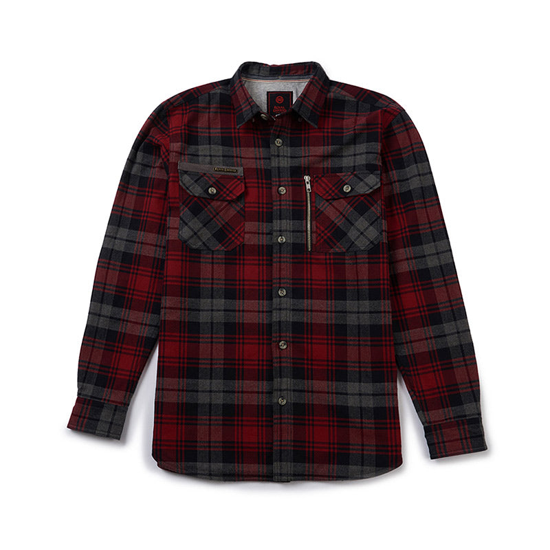 Big Bear Run Checkered Shirt Red Grey - Royal Enfield