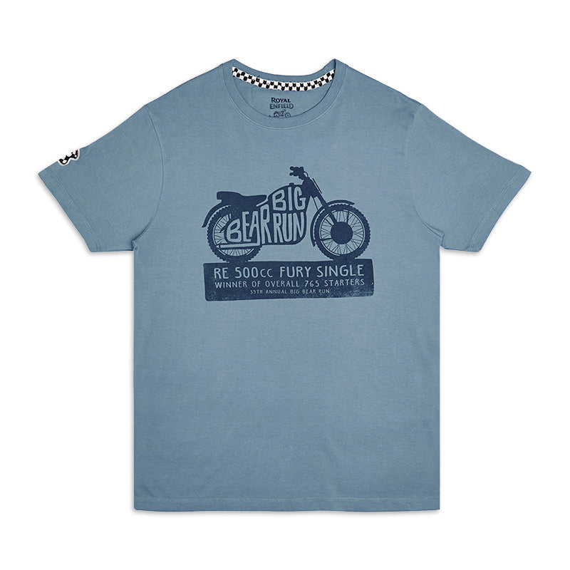 Big Bear Run Fury T-Shirt Light Blue - Royal Enfield