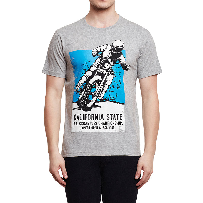Big Bear Run Poster T-Shirt Melange Grey