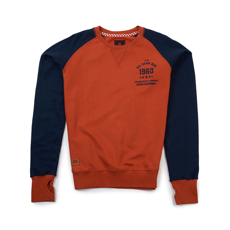 Big Bear Run Raglan Sweatshirt Orenge Blue - Royal Enfield