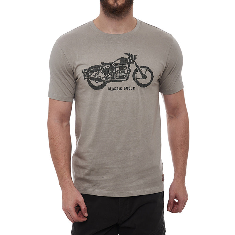Classic Needlecraft T-Shirt Light Grey - Royal Enfield
