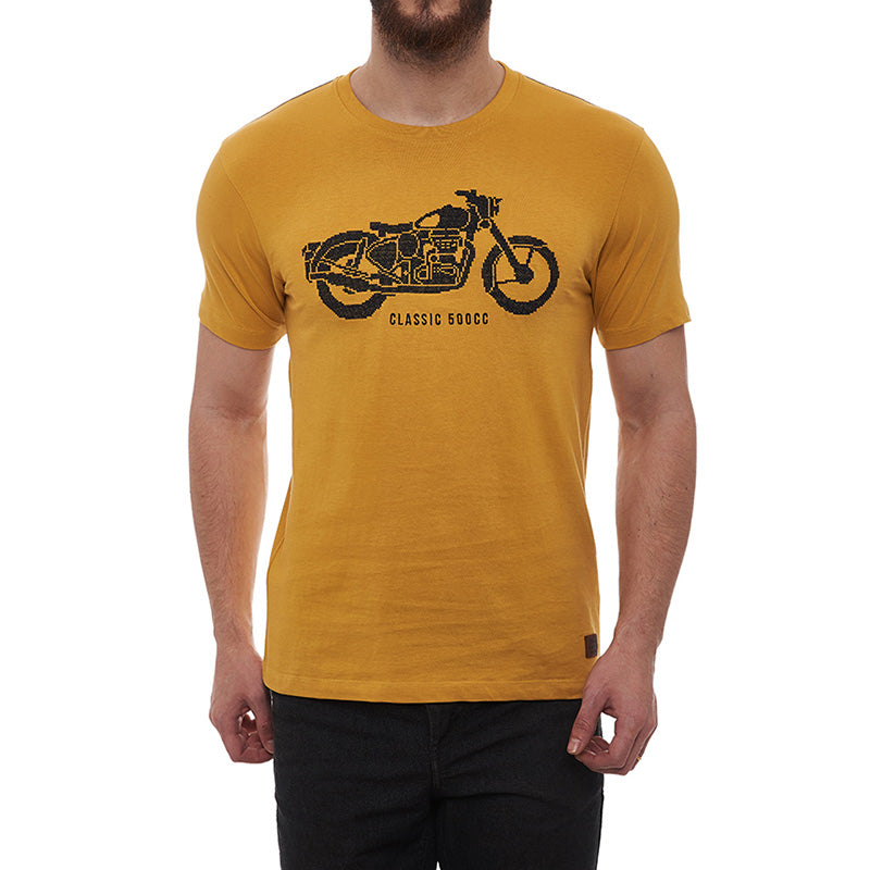 Classic Needlecraft T-Shirt Mustard Yellow - Royal Enfield