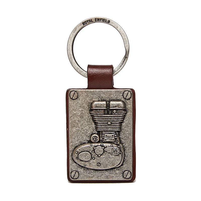 Embossed Engine Keychain Silver Brown