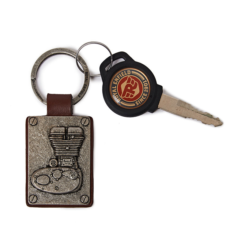 Embossed Engine Keychain Silver Brown - Royal Enfield