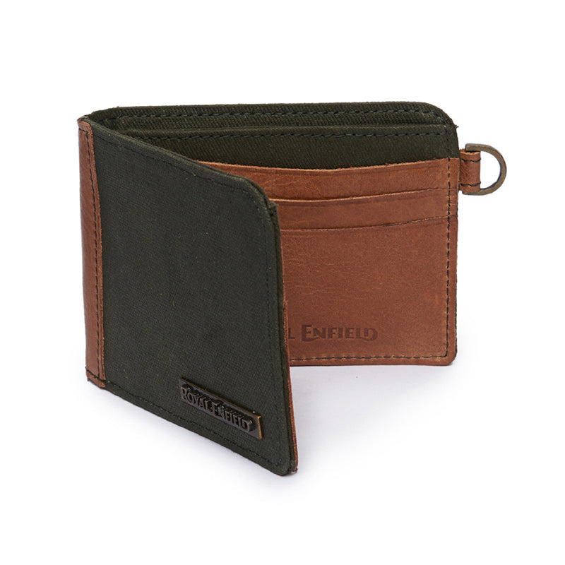 Leather And Canvas Billfold Wallet Brown Green