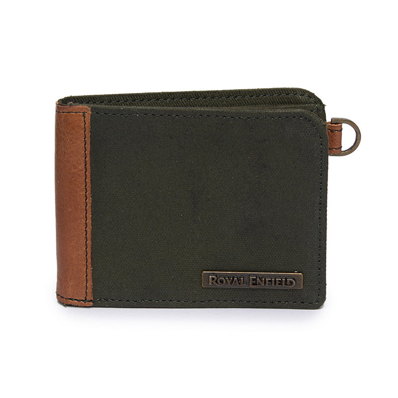 Leather And Canvas Billfold Wallet Brown Green - Royal Enfield