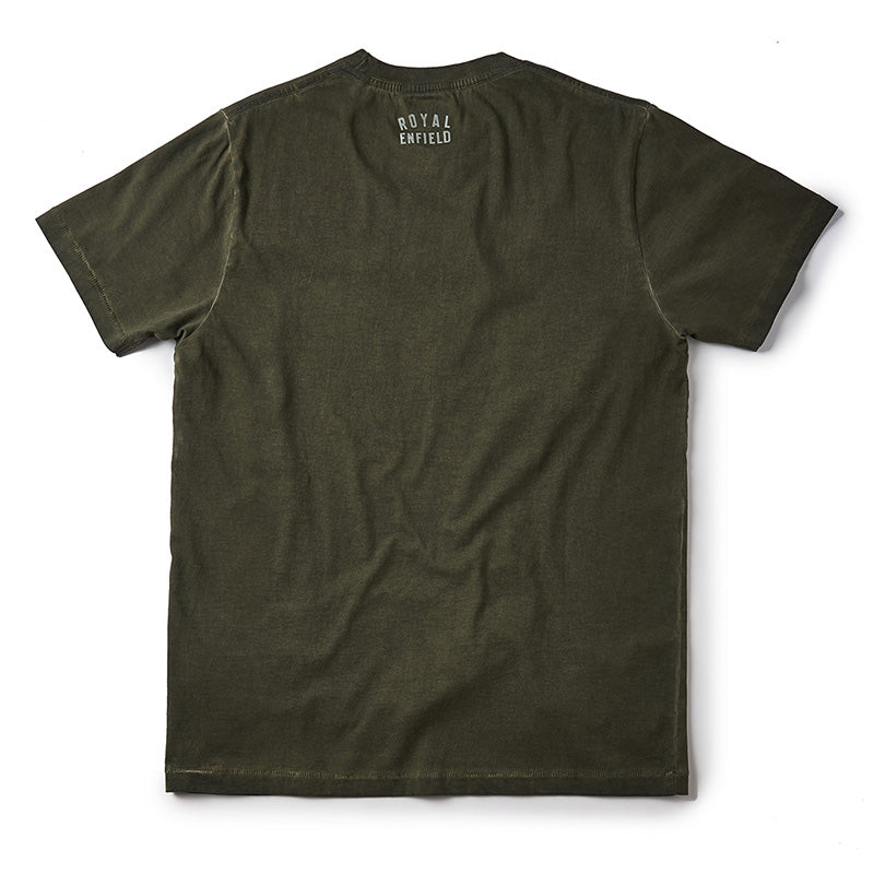 Liquid Gun Barrel T-Shirt Olive Green - Royal Enfield