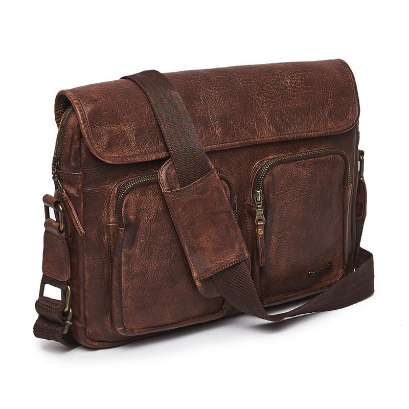 Leather Messenger Bag Brown - Royal Enfield