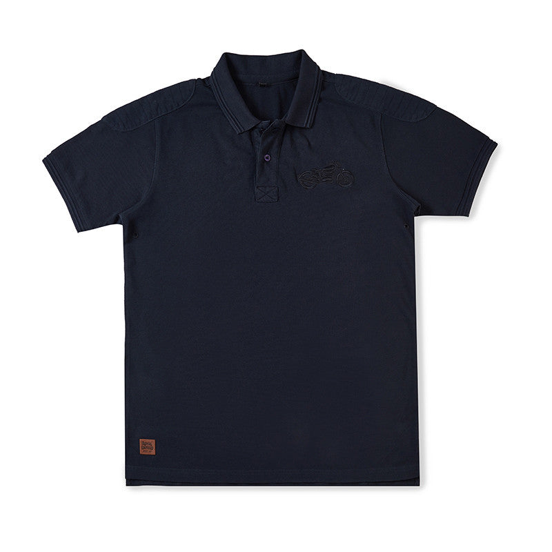 Moto Patch Polo T-Shirt Navy Blue