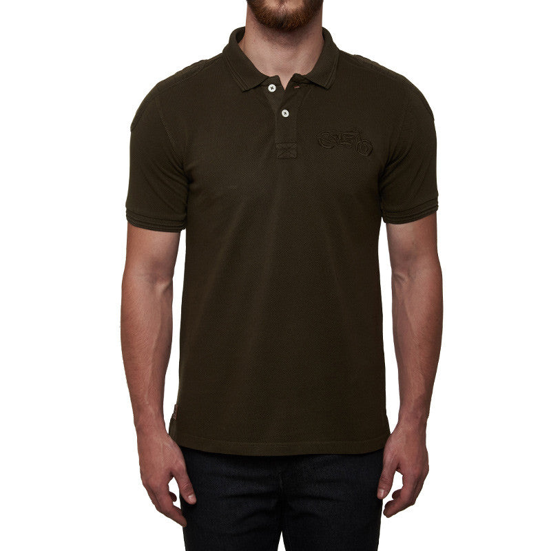 Moto Patch Polo T-Shirt Olive Green