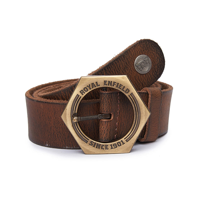 Nut Buckle Belt Tan Brown
