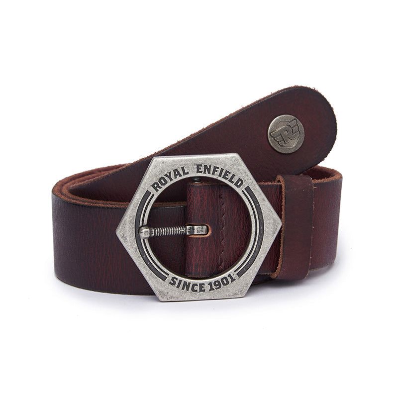 Nut Buckle Belt Wine Red