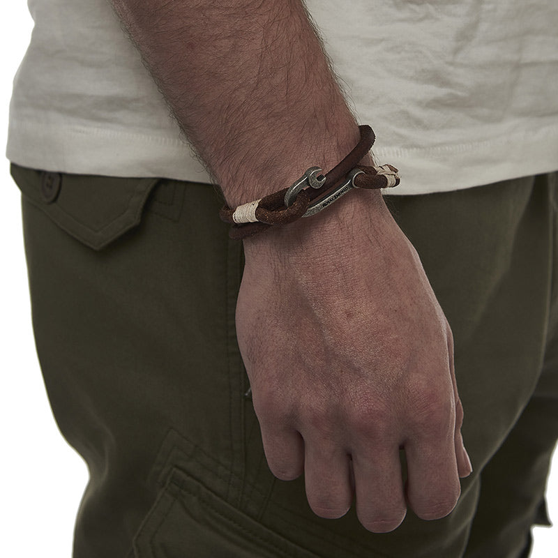 Spanner Hook Bracelet Brown