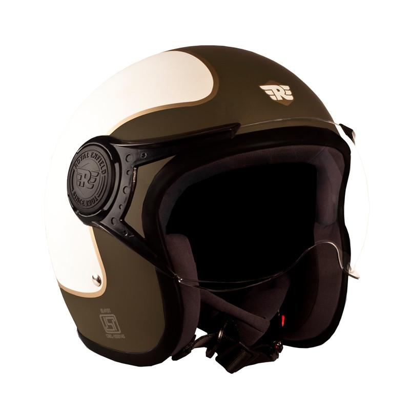 Big Wing Center Stripe Helmet Matt Olive - Royal Enfield