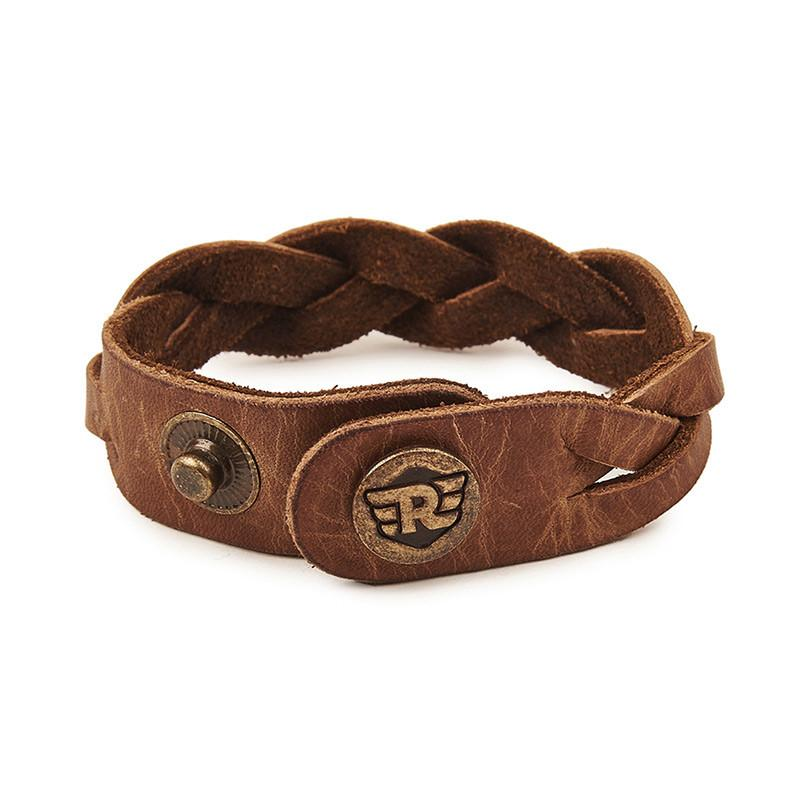 Braided Leather Bracelet Tan Brown - Royal Enfield