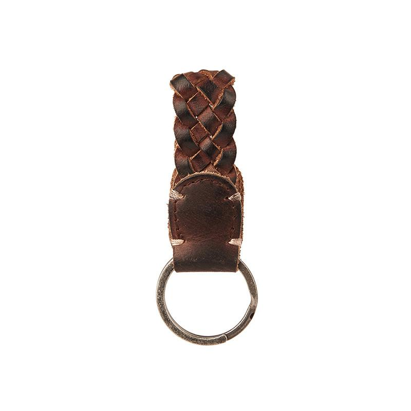 Braided Leather Keychain Dark Brown