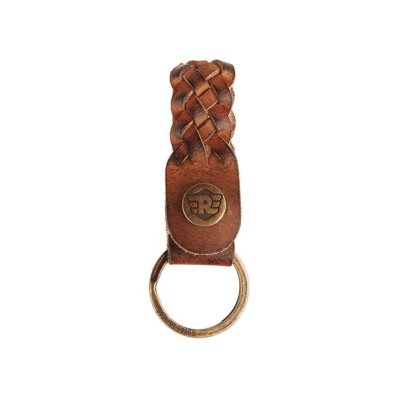 Braided Leather Keychain Tan Brown