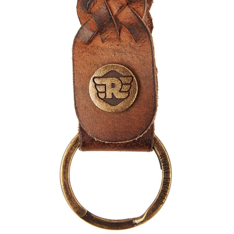 Braided Leather Keychain Tan Brown - Royal Enfield