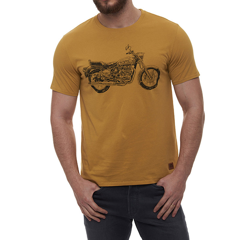 Bullet Crosshatch T-Shirt Musterd Yellow - Royal Enfield