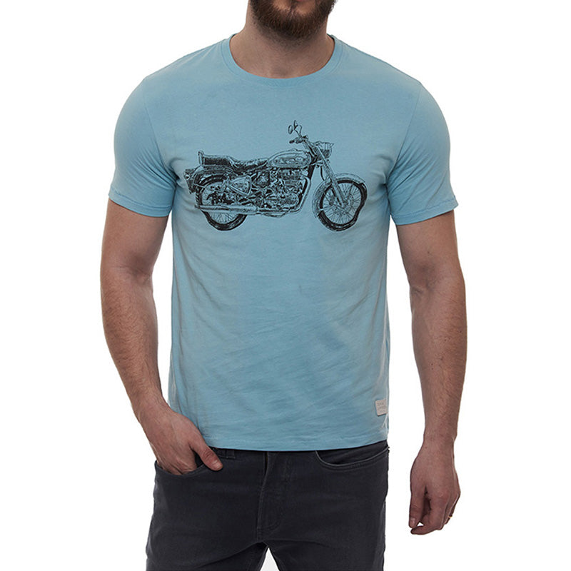 Bullet Crosshatch T-Shirt Sky Blue - Royal Enfield