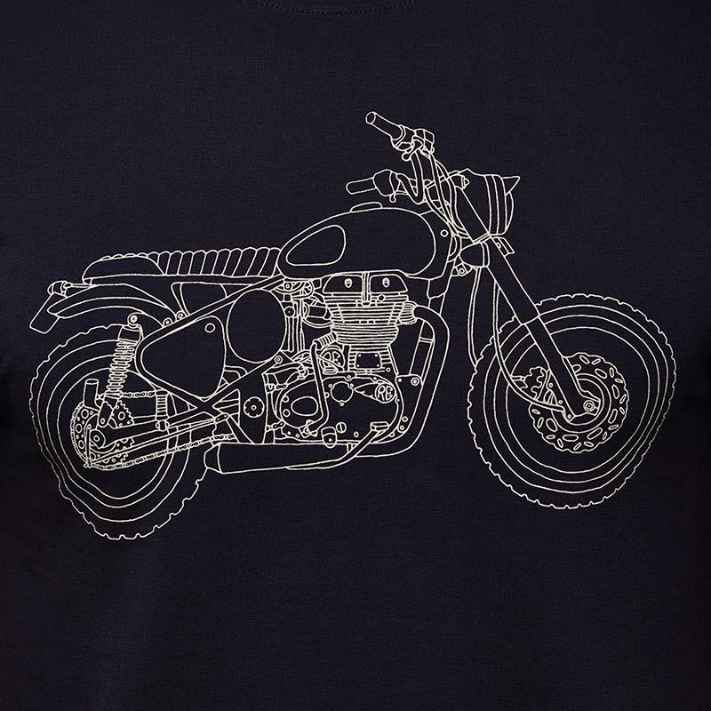 Classic 500 Line Art T-Shirt Navy Blue - Royal Enfield