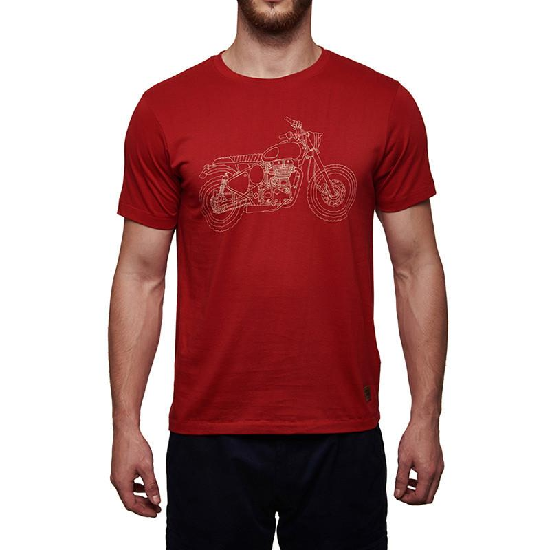 Classic 500 Line Art T-Shirt Red - Royal Enfield
