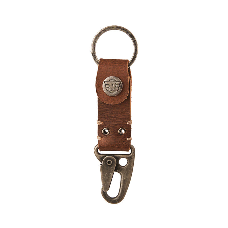Dog Hook Leather Keychain Tan