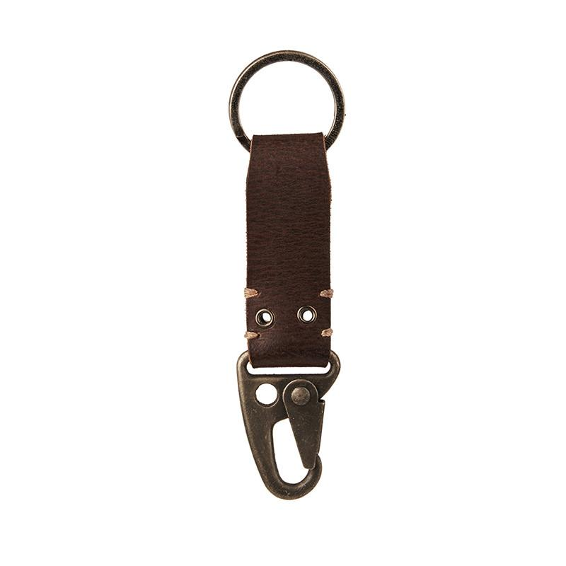 Dog Hook Leather Keychain Dark Brown