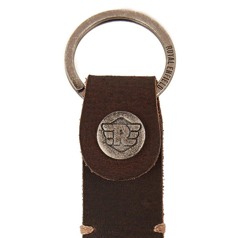 Dog Hook Leather Keychain Dark Brown - Royal Enfield