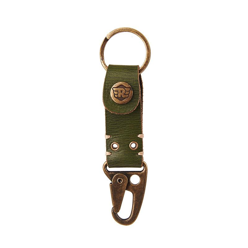 Dog Hook Leather Keychain Olive Green - Royal Enfield