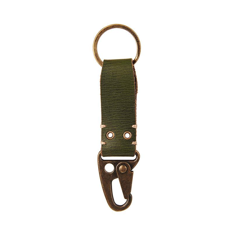 Dog Hook Leather Keychain Olive Green
