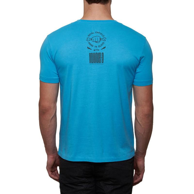 Inline 3 Custom Motorcycles T-Shirt Sky Blue - Royal Enfield