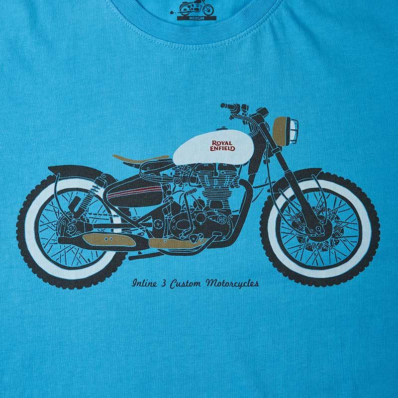 ee1254206 Buy Inline-3 Custom Motorcycles T-Shirt (Sky-Blue) Online | Royal ...