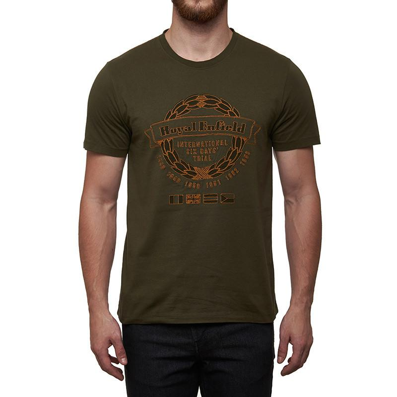 International Six Day Trial T-Shirt Olive Green - Royal Enfield