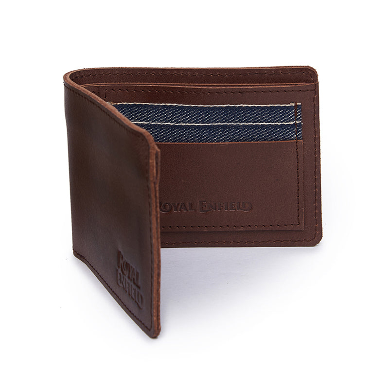 Leather And Denim Billfold Wallet Brown Blue