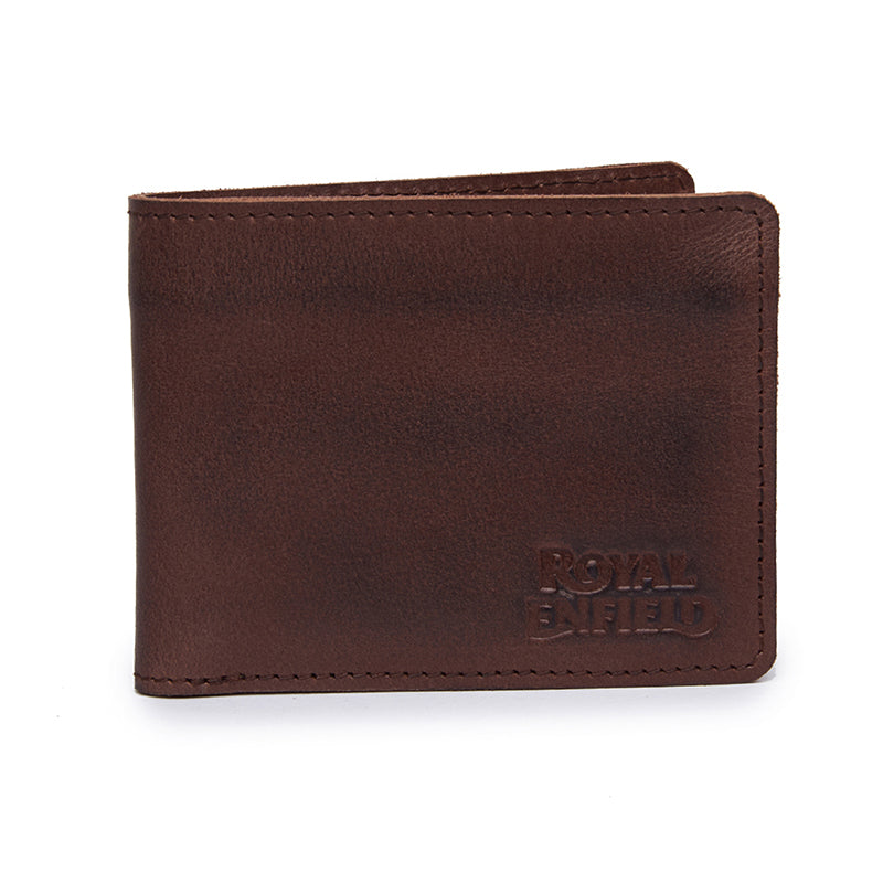 Leather And Denim Billfold Wallet Brown Blue - Royal Enfield
