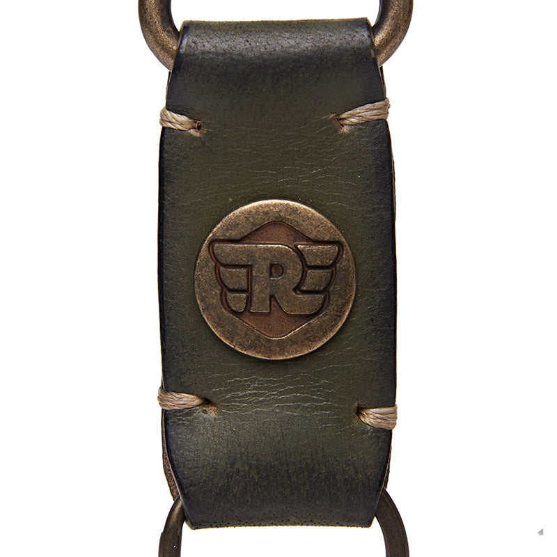 Metal Hook Leather Keychain Olive Green