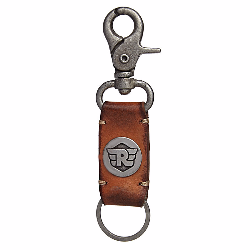 Metal Hook Leather Keychain Tan Brown
