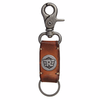 Royal Enfield Metal Hook Leather Keychain Tan Brown