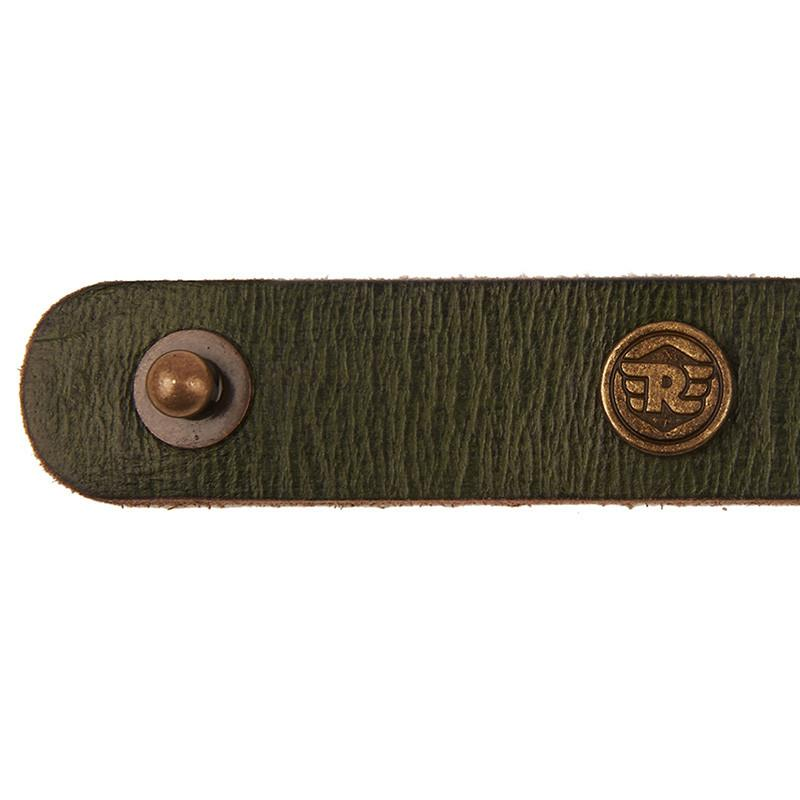 Royal Enfield Stud Leather Bracelet Olive Green