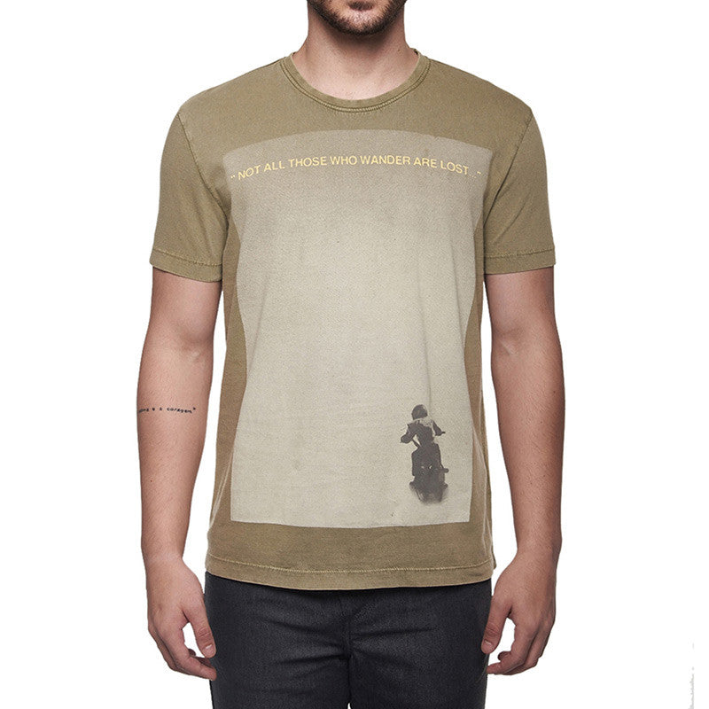 Wanderlust Quote T-Shirt Olive