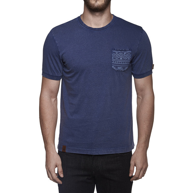 Indigo Patch Pocket Tee Washed Blue - Royal Enfield