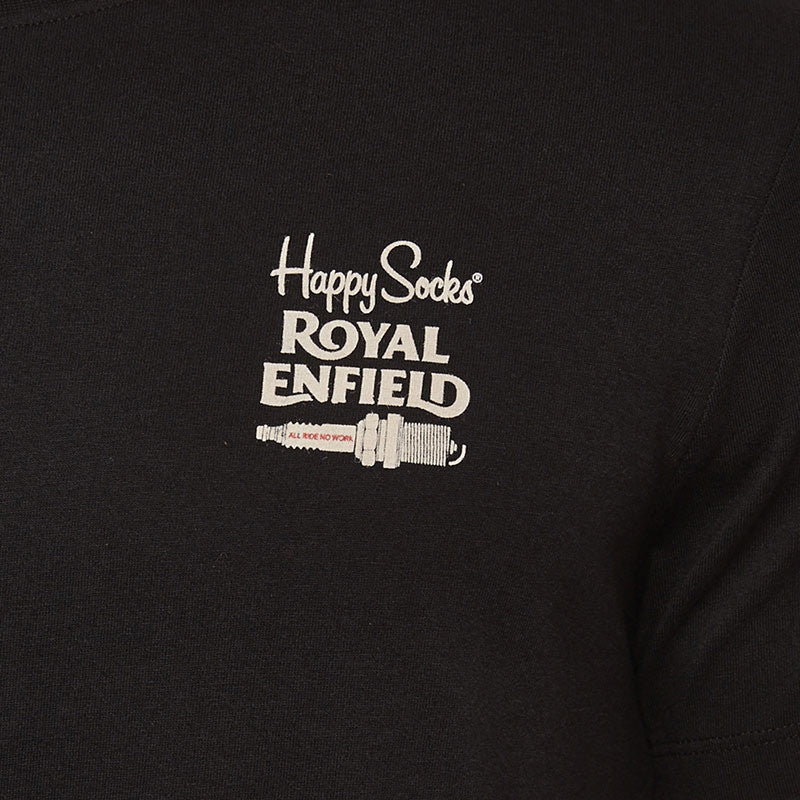 Happy Socks All Ride Tee Black - Royal Enfield