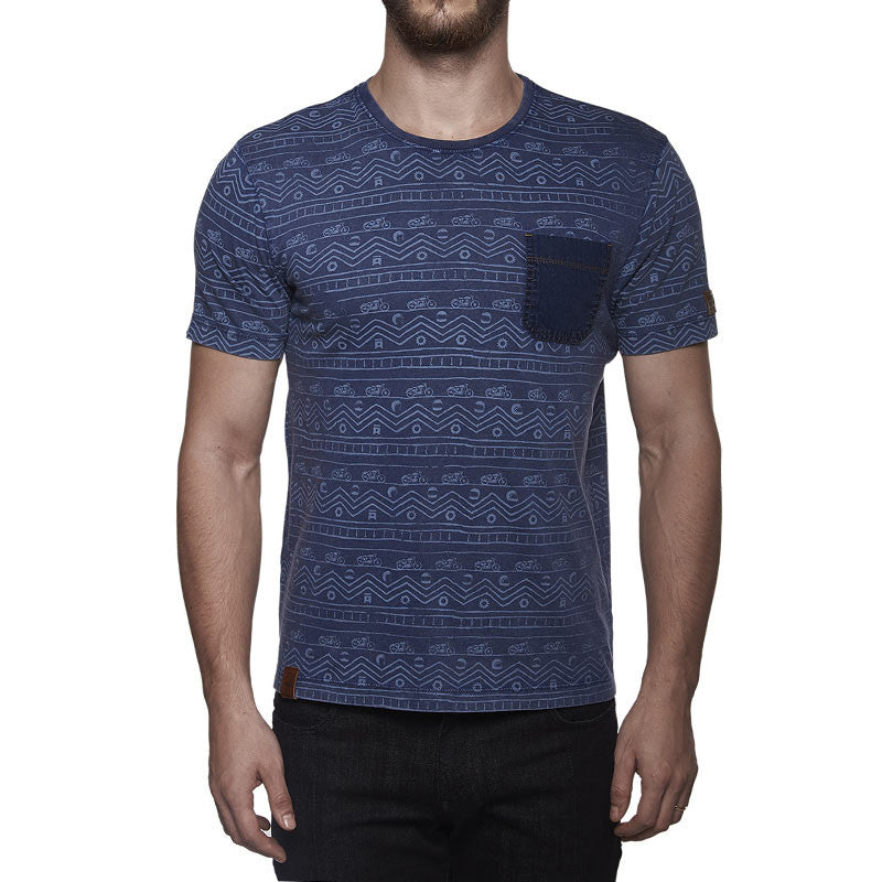 Indigo All Over Print Tee Blue - Royal Enfield